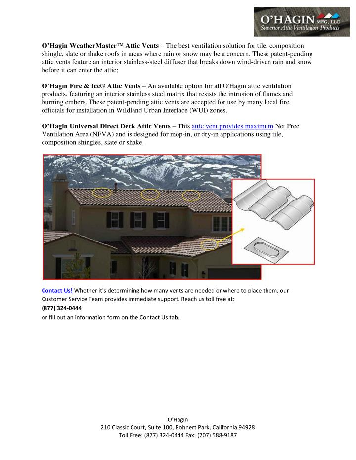 Ou0027Hagin WeatherMaster™ Attic Ventsu2013 The best ventilation ...  sc 1 st  SlideServe & PPT - Ohagin Vnets Solutions - Attic Vents Solutions PowerPoint ...