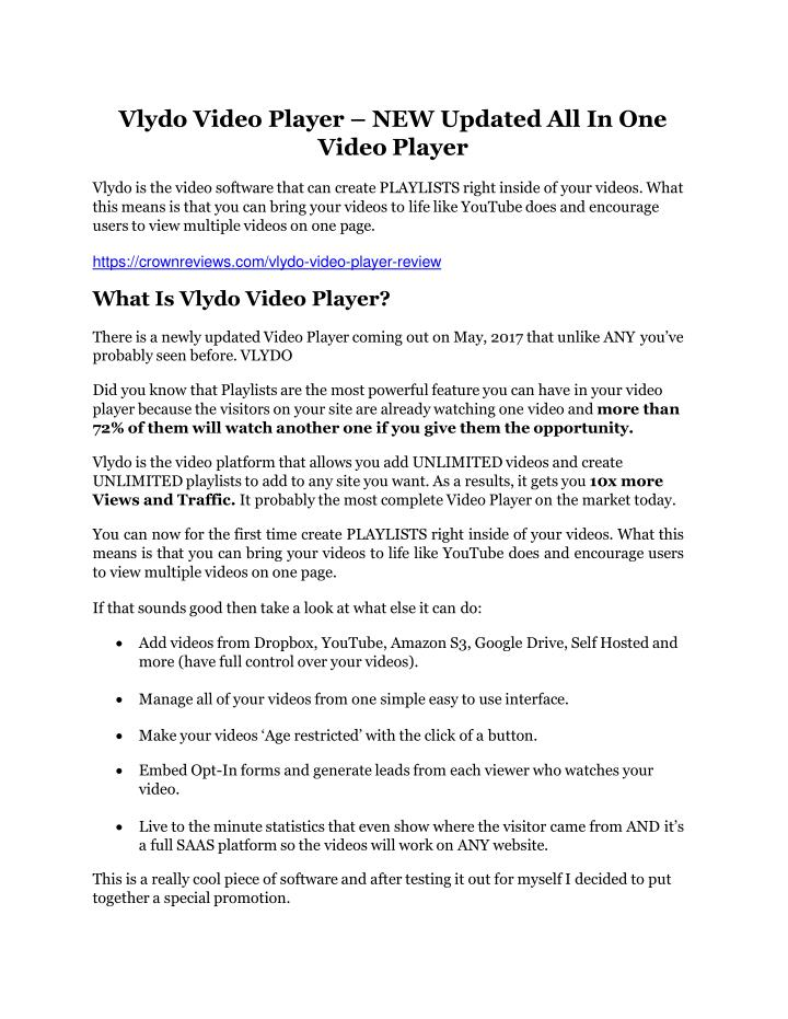 vlydo video player new updated all in one video n.