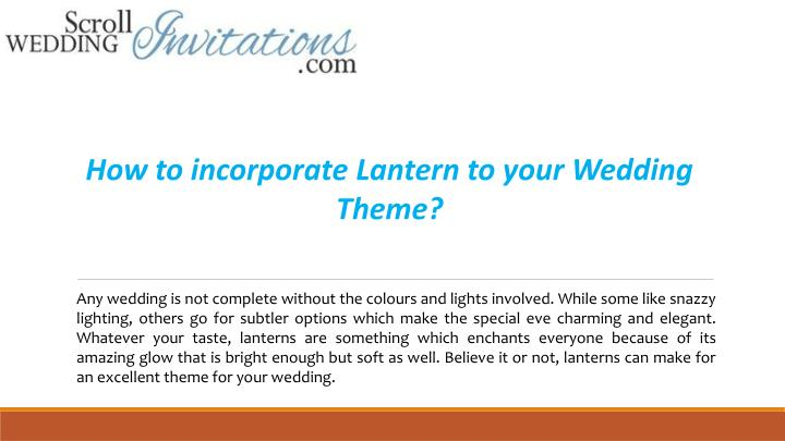 how to incorporate lantern to your wedding theme n.