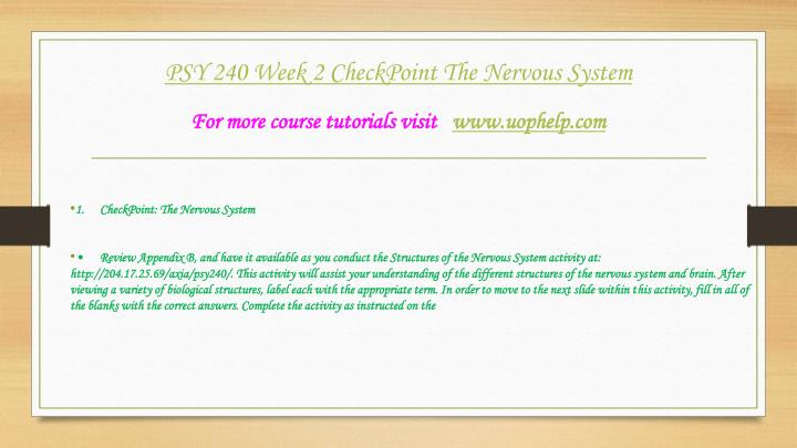 psy 240 week 1 checkpoint the nature nurture issue Psy 240 entire course for more classes visit wwwsnaptutorialcom psy 240 week 1 checkpoint the nature-nurture issue psy 240 week 1 dq 1 and dq 2.
