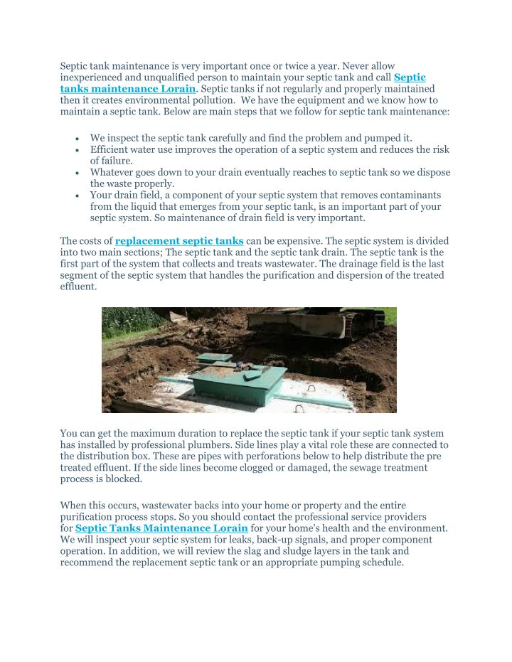PPT - Septic Tanks Maintenance Lorain PowerPoint