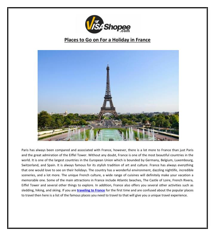 places to go on for a holiday in france n.