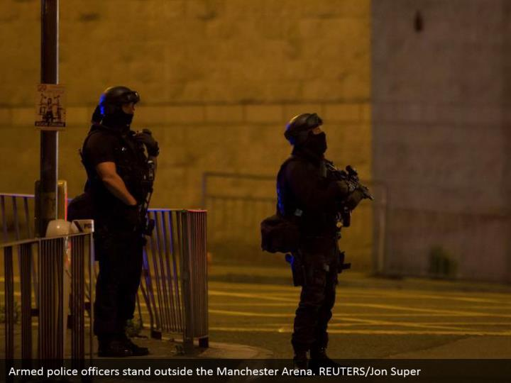 Armed police officers stand outside the Manchester Arena. REUTERS/Jon Super