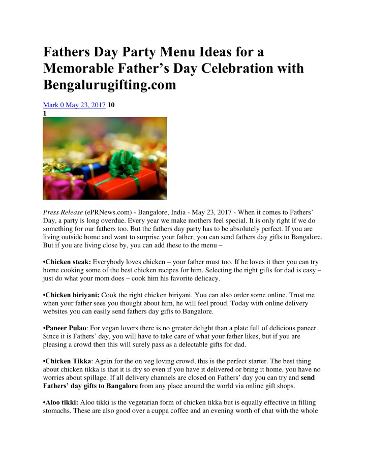 Fathers Day Party Menu Ideas for a