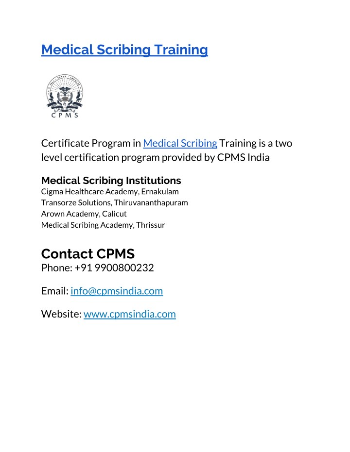 Ppt Medical Scribe Training In Kerala Powerpoint Presentation Id