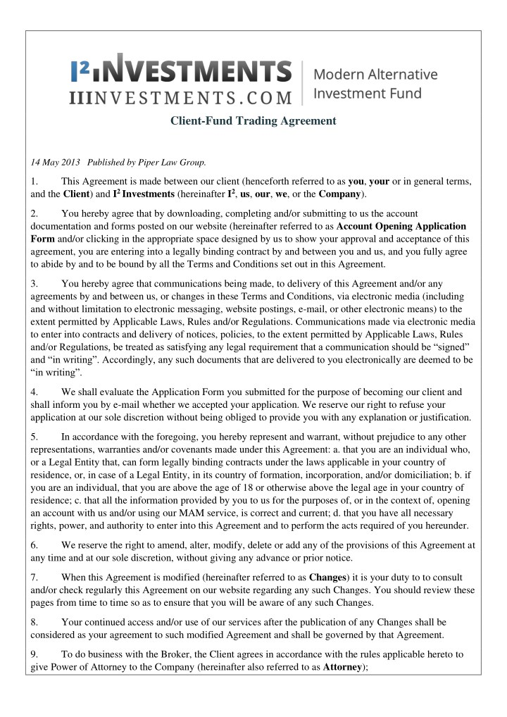 client fund trading agreement n.