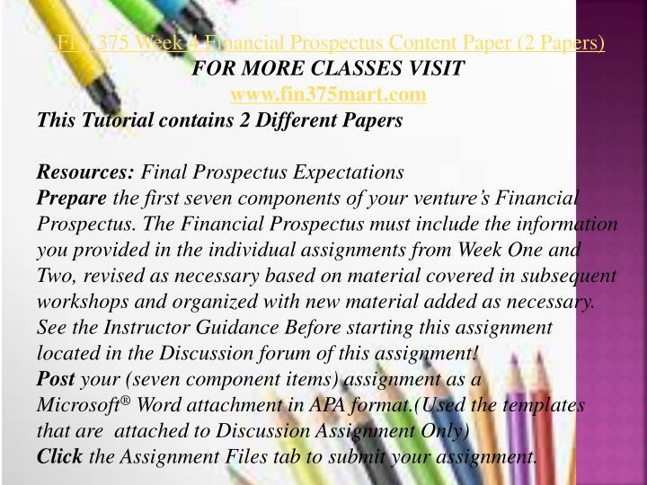 financial prospectus content paper essay
