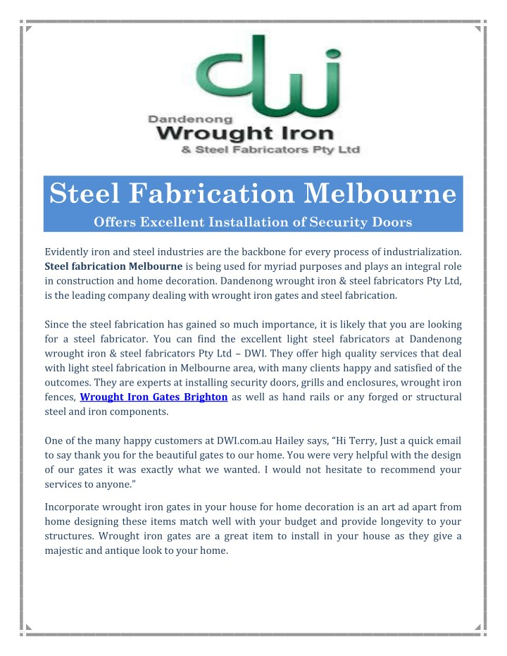 steel fabrication melbourne offers excellent n.