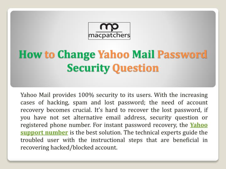 how to get yahoo password with security question