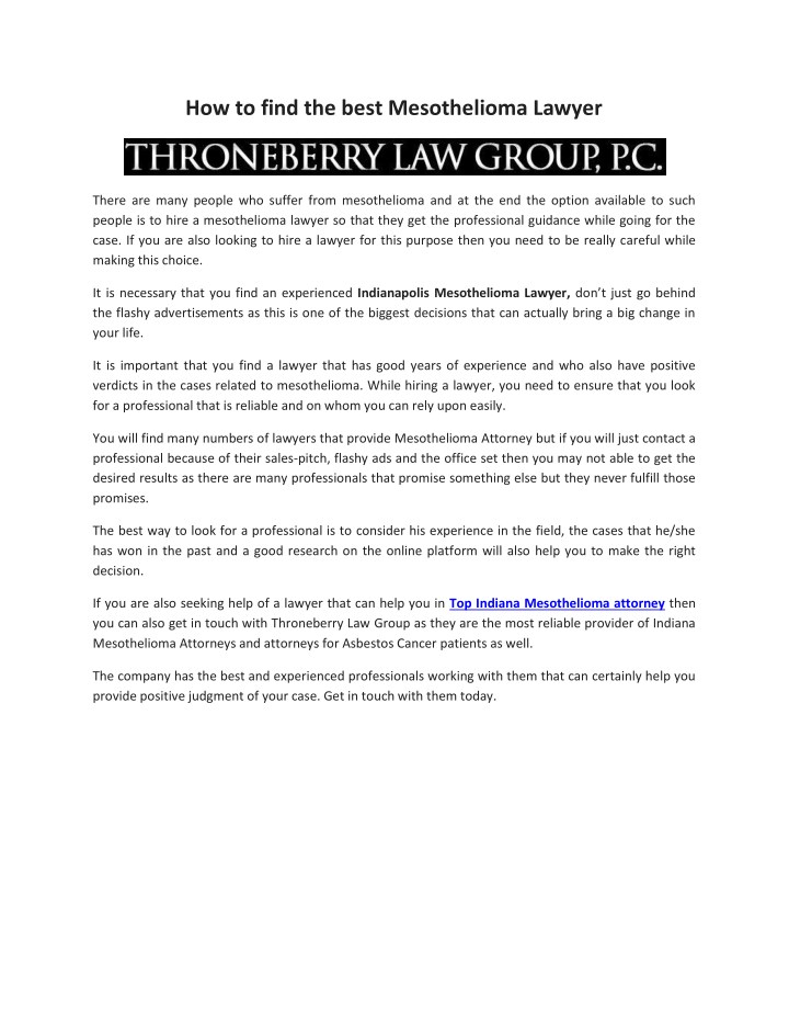 Ppt Find The Best Mesothelioma Lawyer Powerpoint Presentation Free Download Id 7590696