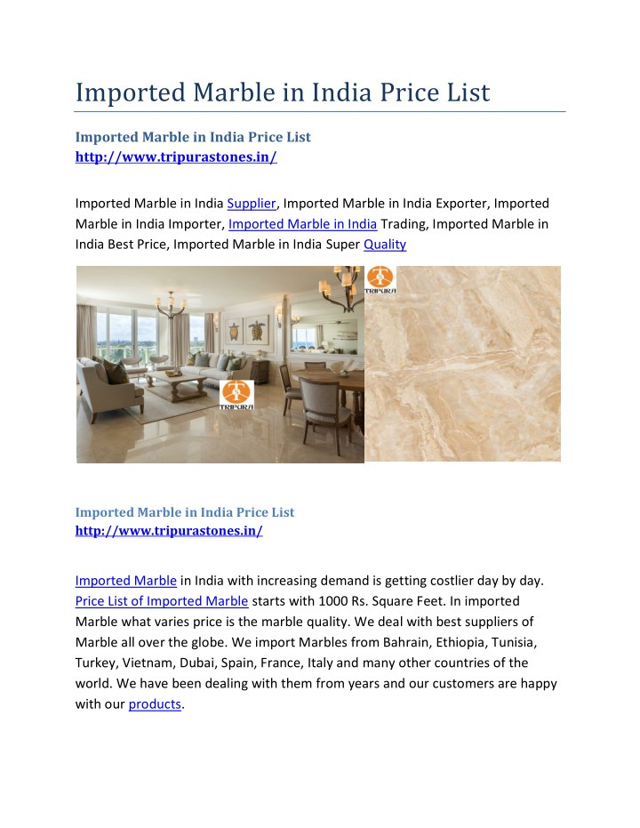 imported marble in india price list n.
