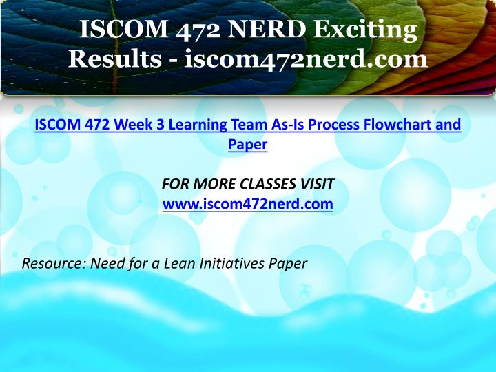 iscom 472 week 3 learning team I and my team believe in a relationship by treating each and every one exactly as we would treat a member of our own family money workshop is one of the very few workshops to offer you complete satisfaction or 100 % of your fees is refunded back the only condition is, you need to attend the money workshop for the.