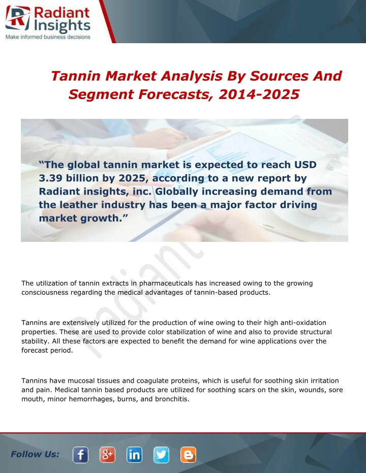 tannin market analysis by sources and segment n.