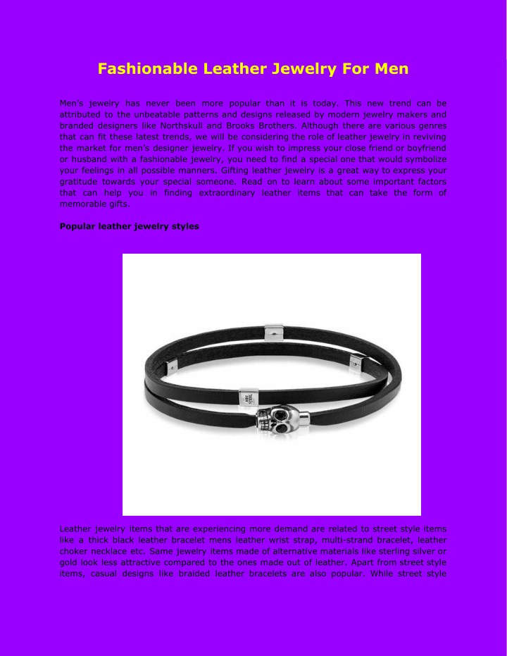 fashionable leather jewelry for men n.