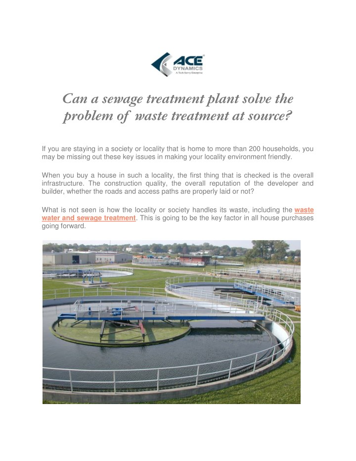 can a sewage treatment plant solve the problem n.