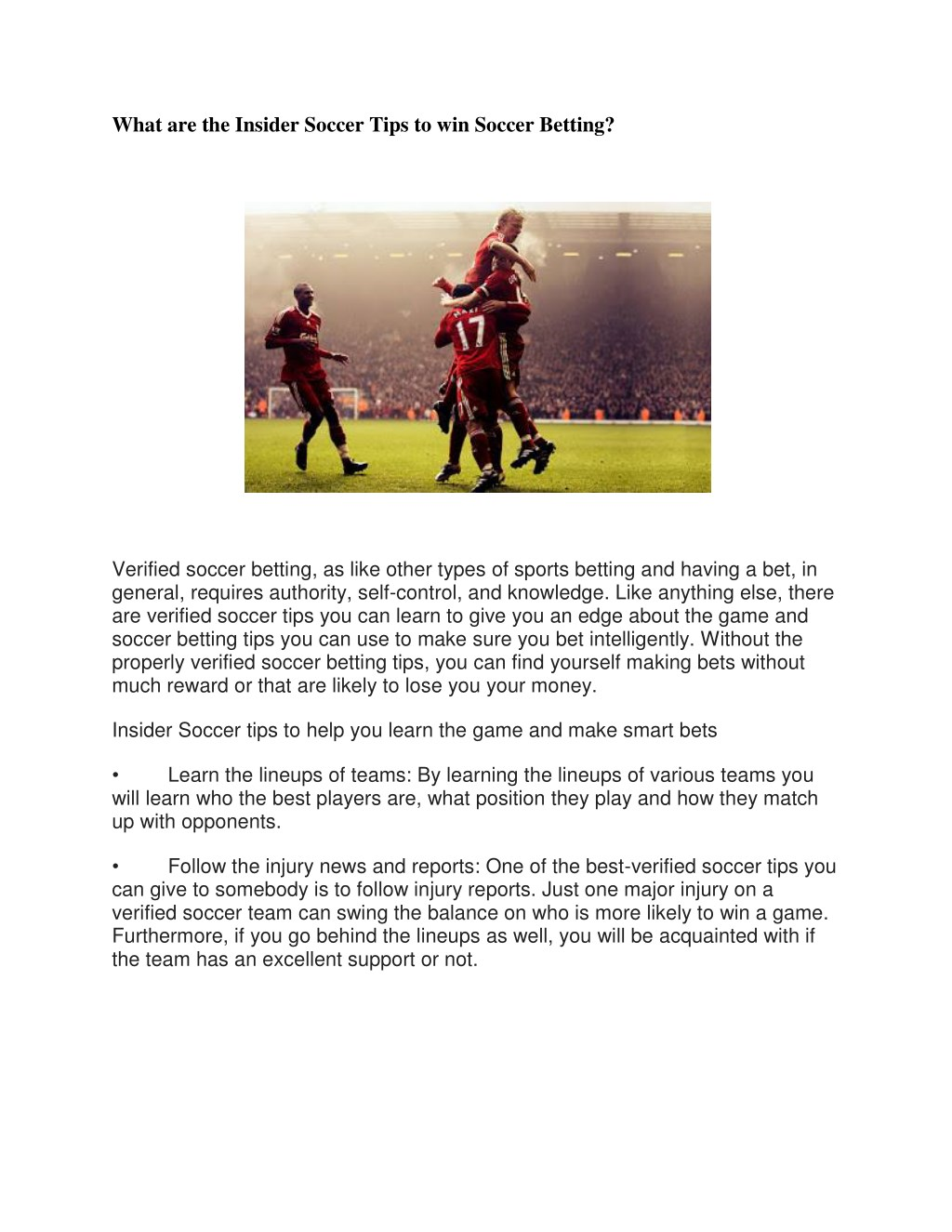 tips on how to win soccer bet