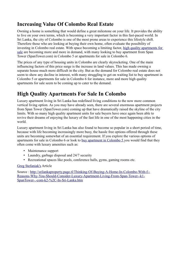 increasing value of colombo real estate n.