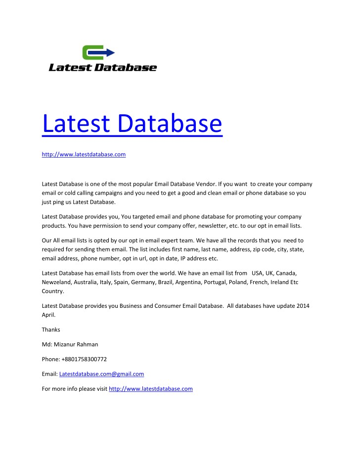 PPT - Latest Email Database provider PowerPoint Presentation