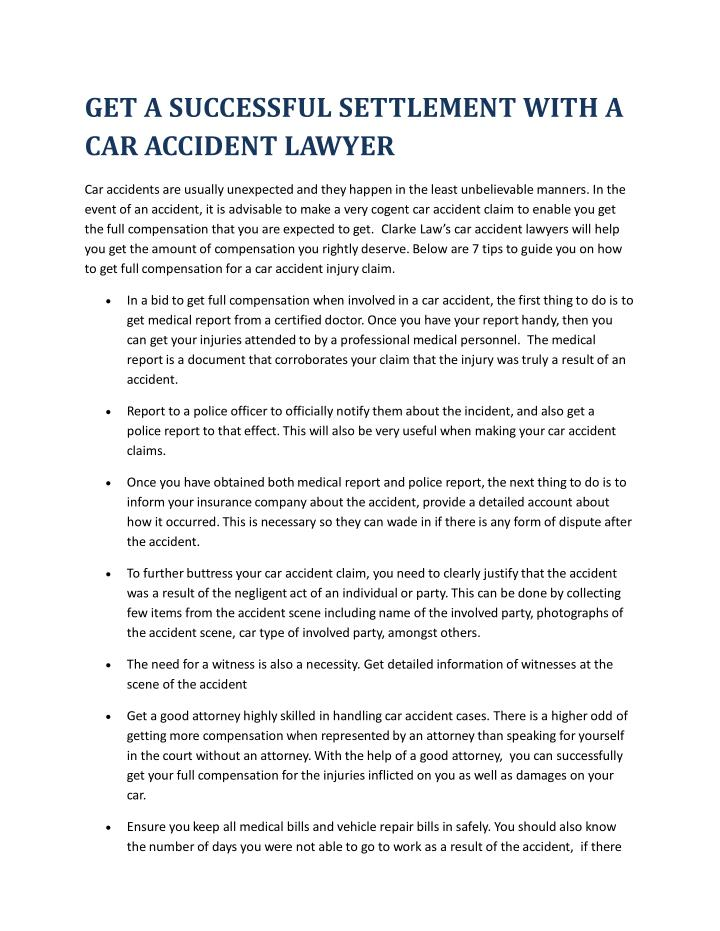 PPT - GET A SUCCESSFUL SETTLEMENT WITH A CAR ACCIDENT LAWYER