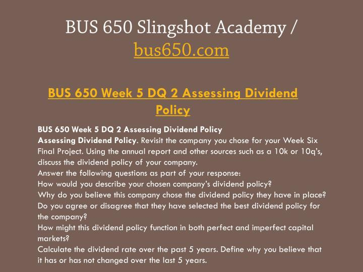 the assessment of dividend policy on
