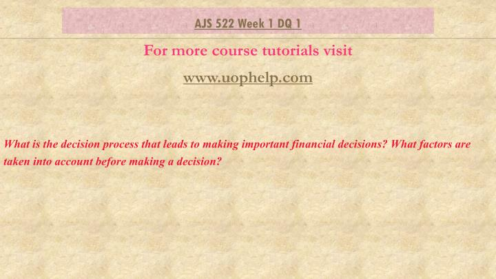 what is the decision process that leads to making important financial decisions