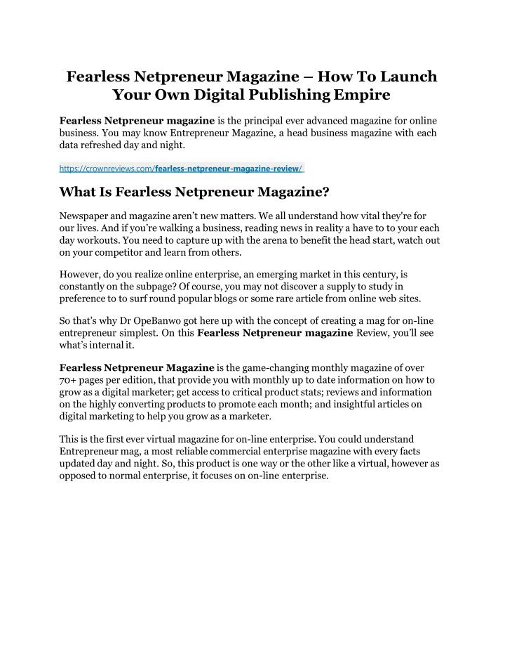 fearless netpreneur magazine how to launch your n.