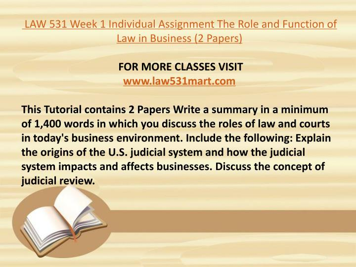 law421 week3 individual assignment