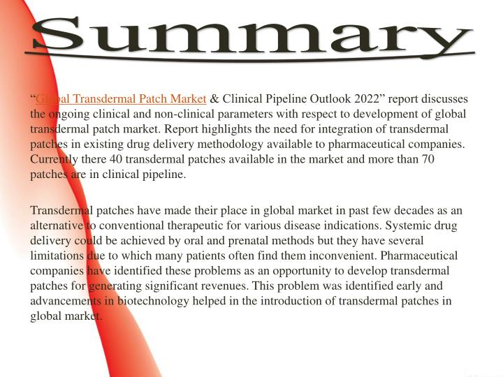 transdermal drug delivery market clinical Dublin, mar 22, 2017 /prnewswire/ -- research and markets has announced the addition of the global transdermal patch market & clinical pipeline outlook 2022 report to their offering.