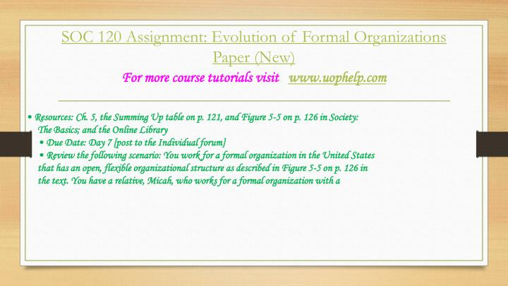 evoluction of formal organization paper Review the following scenario: you work for a formal organization in the united states that has an open, flexible organizational structure as described in figure 5-5 on p 126 in the text.