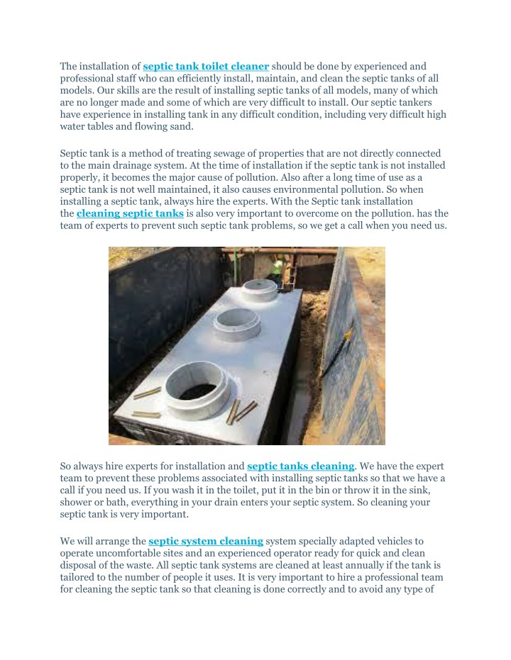the installation of septic tank toilet cleaner n.