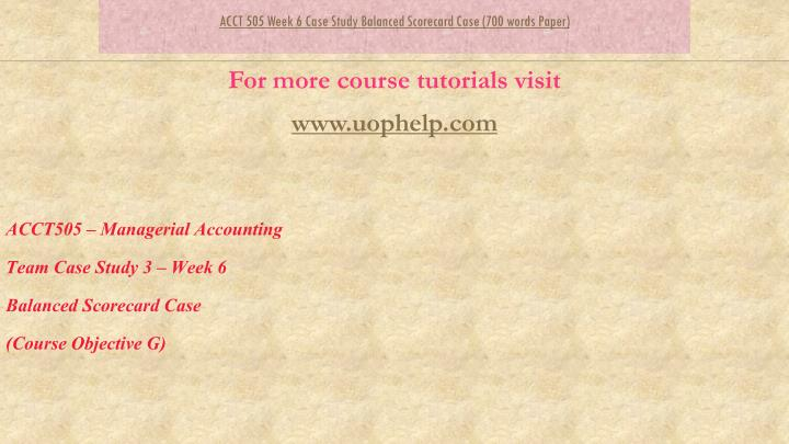 acct 505 week 6 quiz Acct 505 is a online tutorial store we provides acct 505 week 6 quiz segment reporting and relevant costs for decisions.