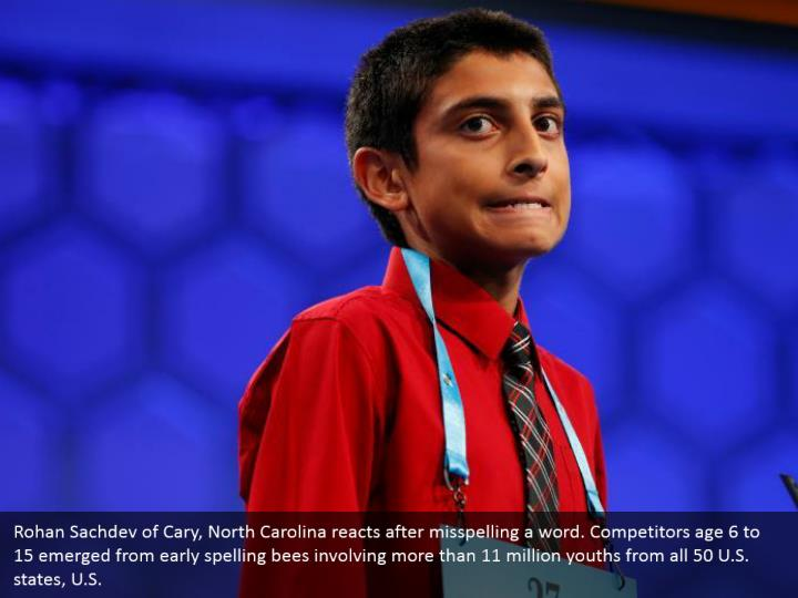 Rohan Sachdev of Cary, North Carolina reacts after misspelling a word. Competitors age 6 to 15 emerged from early spelling bees involving more than 11 million youths from all 50 U.S. states, U.S.