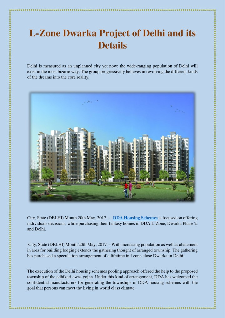 PPT - L-Zone Dwarka Project of Delhi and its Details PowerPoint
