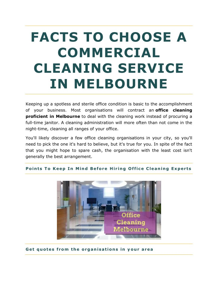facts to choose a commercial cleaning service n.