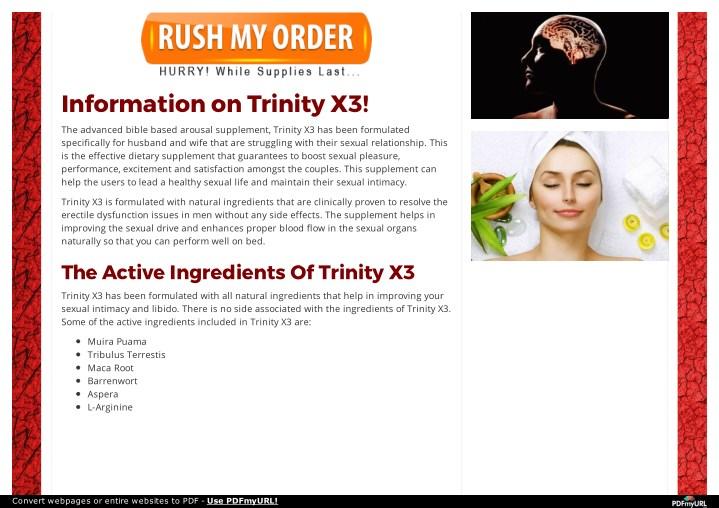 Trinity X3 Ingredients