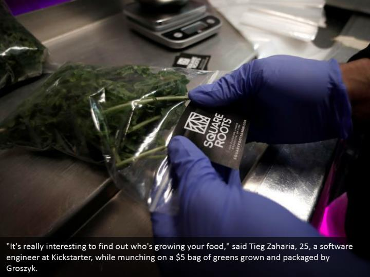 """""""It's really interesting to find out who's growing your food,"""" said Tieg Zaharia, 25, a software engineer at Kickstarter, while munching on a $5 bag of greens grown and packaged by Groszyk."""