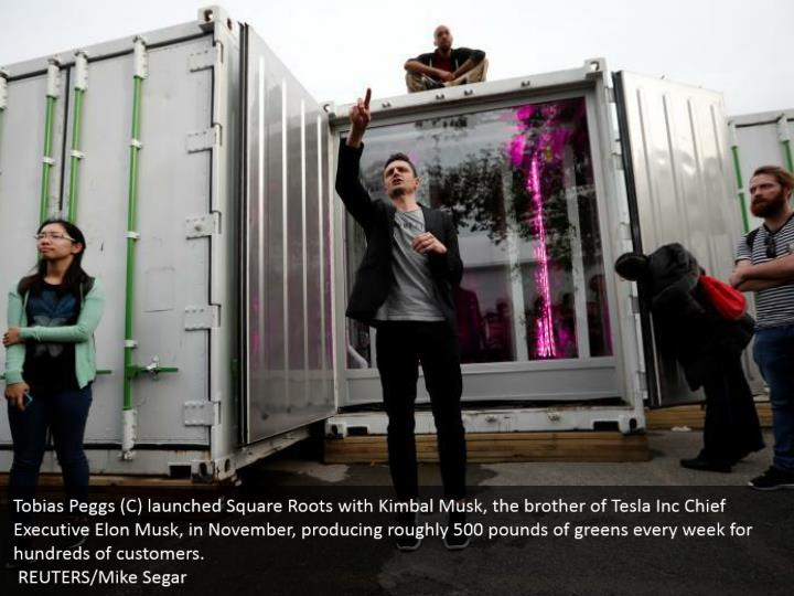 Tobias Peggs (C) launched Square Roots with Kimbal Musk, the brother of Tesla Inc Chief Executive Elon Musk, in November, producing roughly 500 pounds of greens every week for hundreds of customers.   REUTERS/Mike Segar