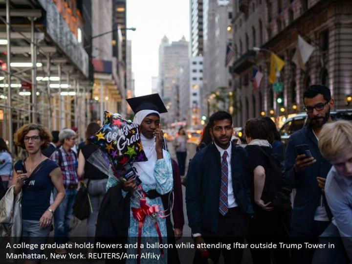 A college graduate holds flowers and a balloon