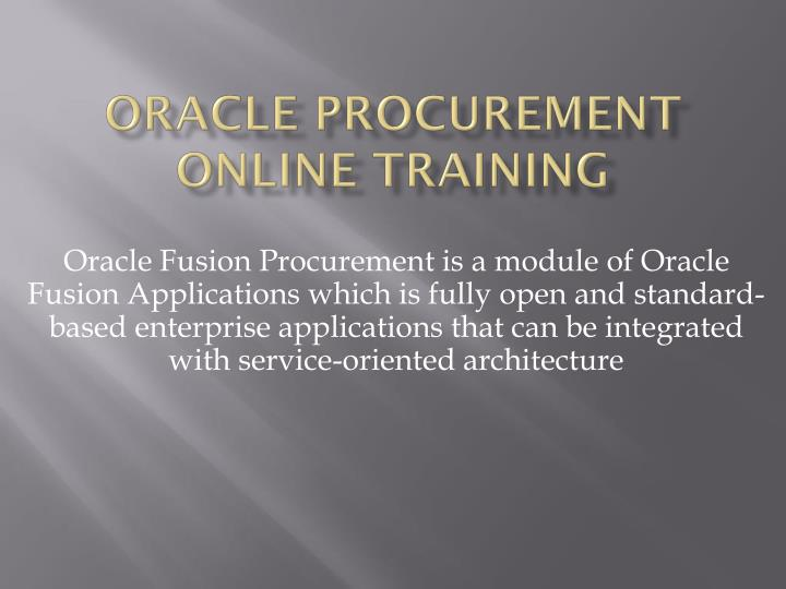 PPT - Oracle Procurement Online Training in Kolkata