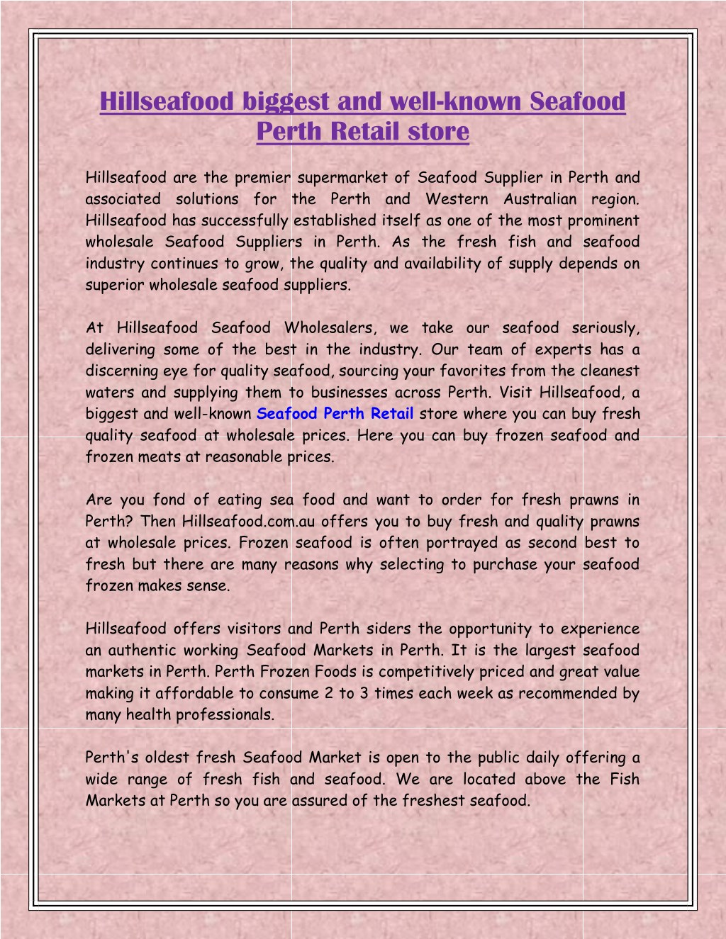 PPT - Hillseafood biggest and well-known Seafood Perth Retail store