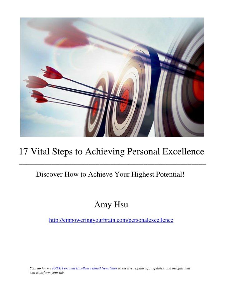 17 vital steps to achieving personal excellence n.
