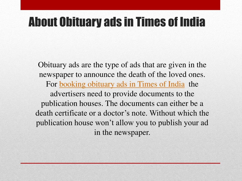 PPT - Times of India Obituary Advertisement Booking Online