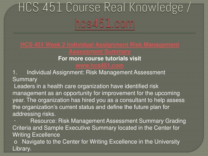 hcs451 risk and quality management Challenges in making risk and quality management decisions in a healthcare  from hcs 451 at university of phoenix.