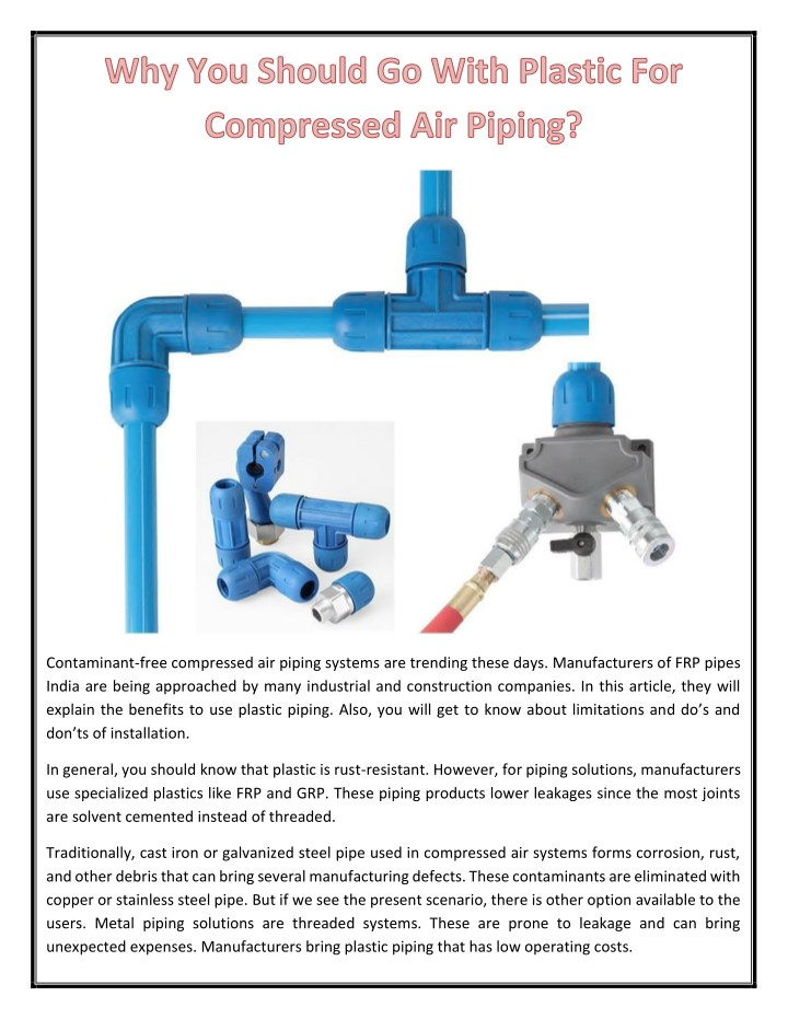 PPT - Why You Should Go With Plastic For Compressed Air