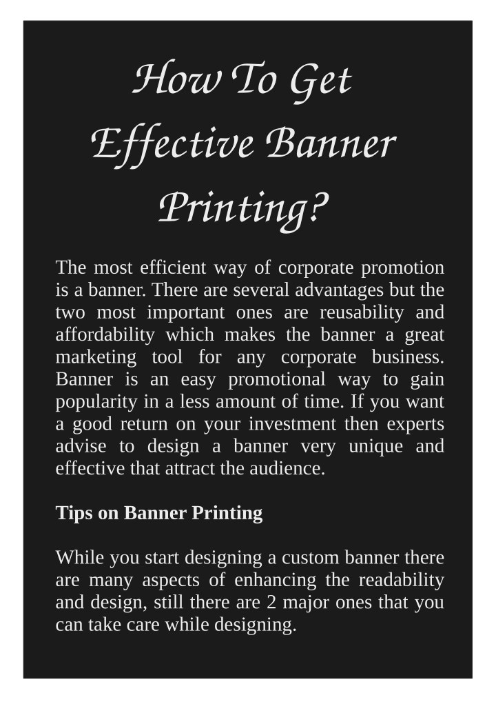 how to get effective banner printing n.