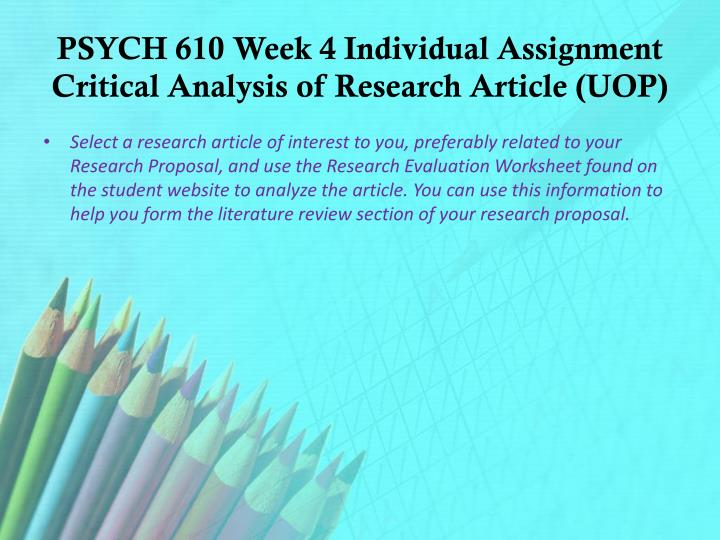 critical analysis of research article A nurses' guide to the critical reading of research enhanced by the ability of nurses to critique research this article the analysis of a research.