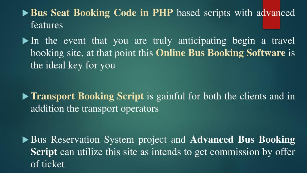 PPT - Online Bus Booking Software | PHP code PowerPoint