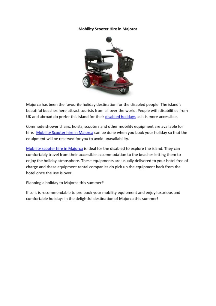mobility scooter hire in majorca n.