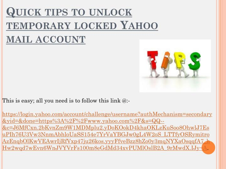 locked out of yahoo mail account