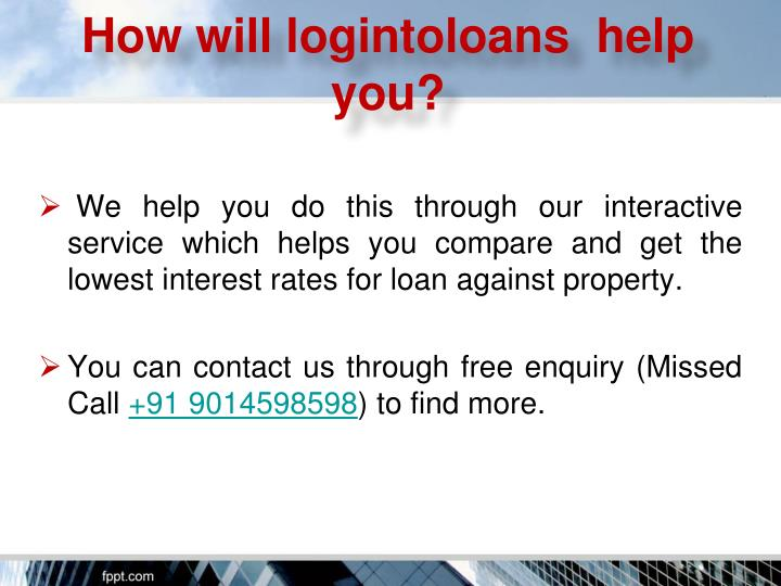online application for loan against property